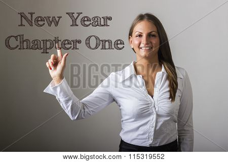New Year Chapter One - Beautiful Girl Touching Text On Transparent Surface