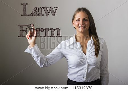 Law Firm - Beautiful Girl Touching Text On Transparent Surface