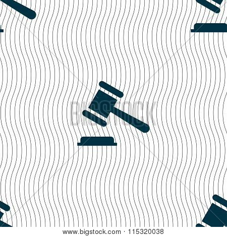 Judge Or Auction Hammer Icon Sign. Seamless Pattern With Geometric Texture.
