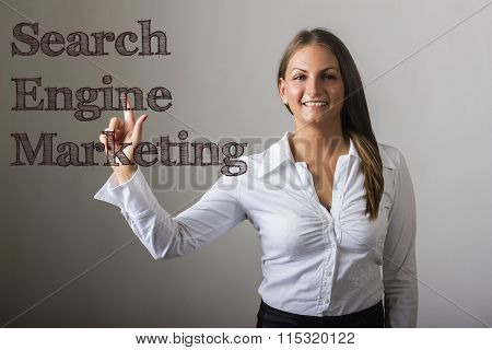 Search Engine Marketing Sem - Beautiful Girl Touching Text On Transparent Surface