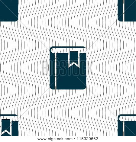 Book Bookmark Icon Sign. Seamless Pattern With Geometric