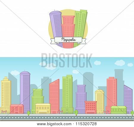 Bright sunny day vector background and icon of a modern big city downtown skyscraper house skyline f