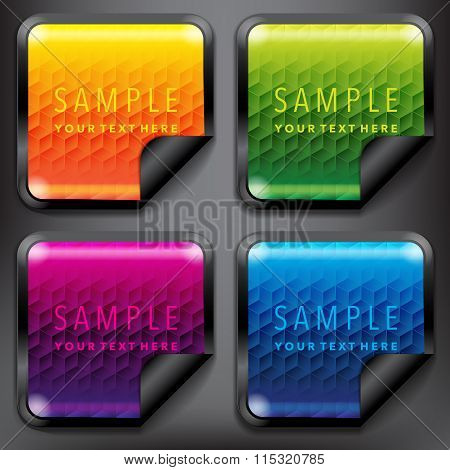 Square shaped sale stickers with abstract design set of 4.