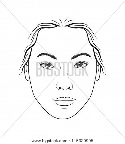 Asian female face makeup chart for makeup, beauty  and cosmetics lessons training.