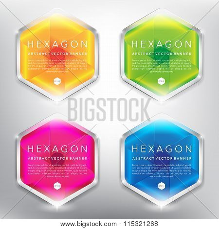 Hexagonal vector banners with abstract design set of 4.