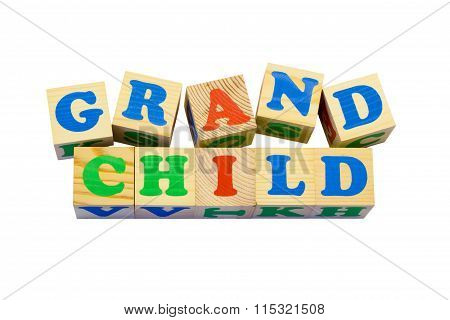 Wood cube with inscription GRANDCHILD