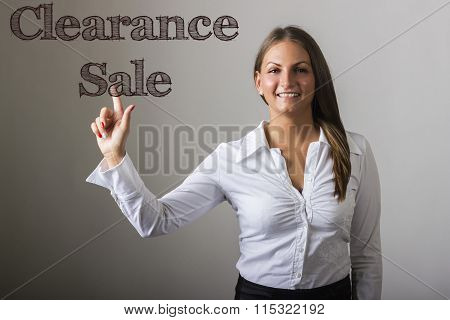 Clearance Sale - Beautiful Girl Touching Text On Transparent Surface