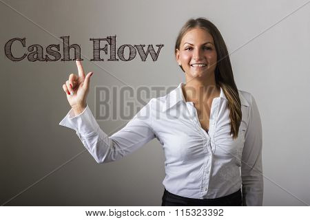 Cash Flow - Beautiful Girl Touching Text On Transparent Surface