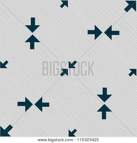 Exit Full Screen Icon Sign. Seamless Pattern With Geometric