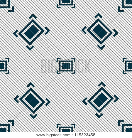 Crops And Registration Marks Icon Sign. Seamless Pattern With Geometric