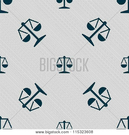 Libra Icon Sign. Seamless Pattern With Geometric
