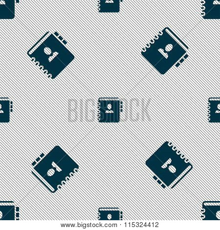 Notebook, Address, Phone Book Icon Sign. Seamless Pattern With Geometric