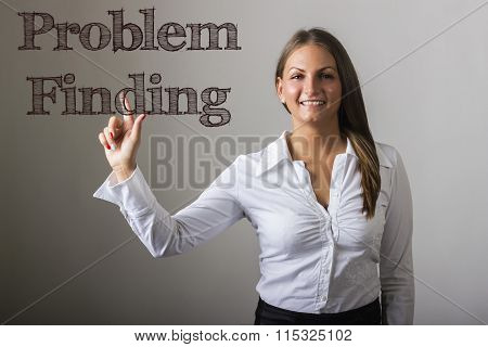 Problem Finding - Beautiful Girl Touching Text On Transparent Surface