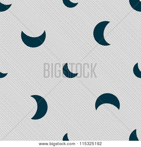 Moon Icon Sign. Seamless Pattern With Geometric Texture.