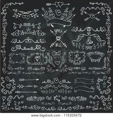 Swirling hearts decor.Doodle borders,arrows,frames