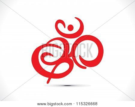 Abstract Artistic Red Om