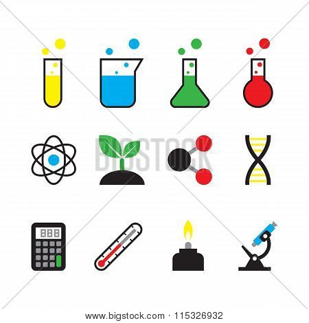 science object icon set