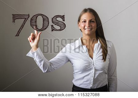 70S - Beautiful Girl Touching Text On Transparent Surface