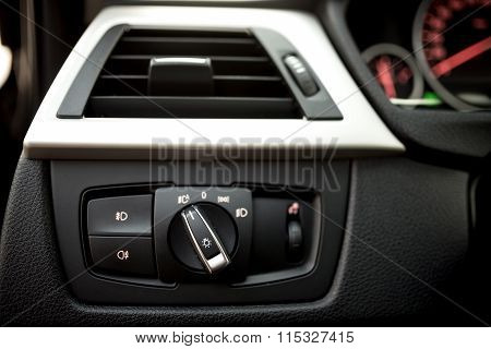 Air Conditioning Of Automobile Interior And Headlight Controls - Modern Car Ventilation System.