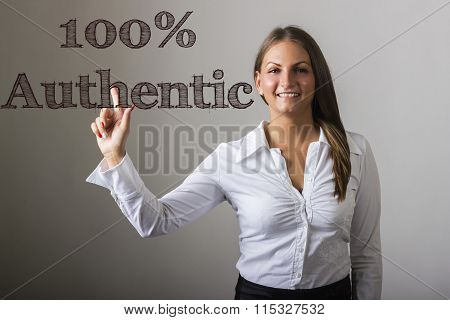 100% Authentic - Beautiful Girl Touching Text On Transparent Surface