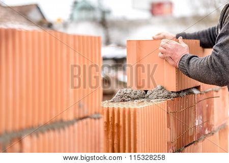 Construction Mason Worker Bricklayer Installing Brick Walls