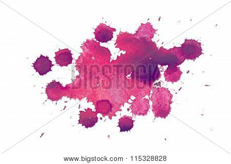 Abstract watercolor aquarelle hand drawn colorful shapes art red color paint or blood splatter stain