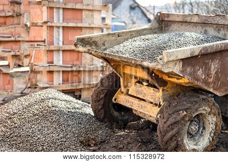 Dumper Truck Unloading Construction Gravel, Sand And Curshed Stones