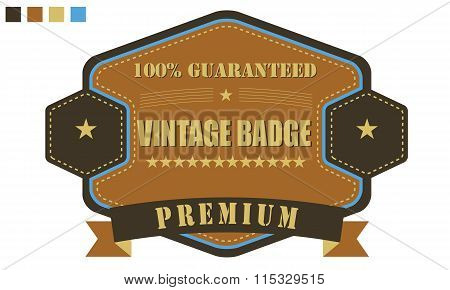 Vintage style old retro badge ribbon. guarantee label