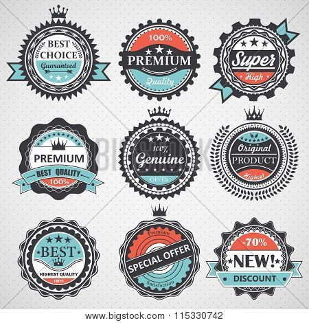 Set of premium quality, guaranteed, genuine badges, retro elements vector