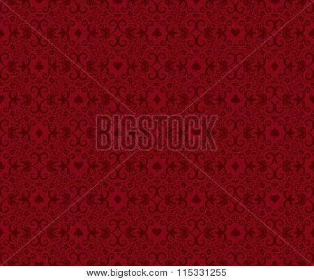 Red Seamless Poker Background With Dark Red Damask Pattern And Cards Symbols