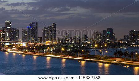View Of Venetian Causeway In Miami Florida