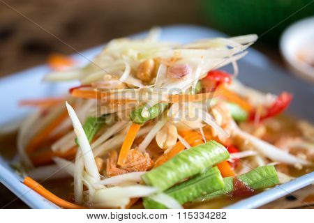 Zoom Papaya Salad Thailand Food Call
