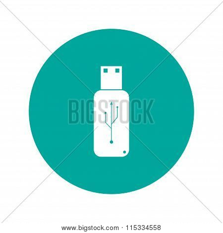 Usb Icon - Vector  Flat Button