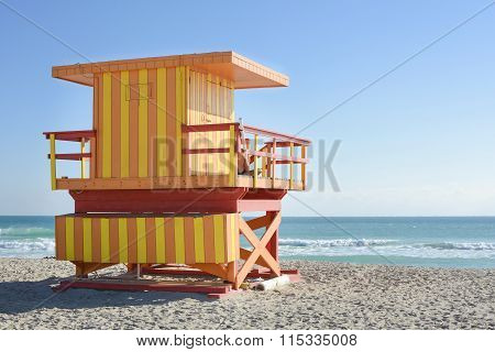 Lifeguard House On A Clear Sunny Day