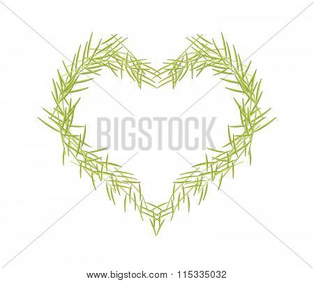 Green Leaves Forming In A Heart Shape