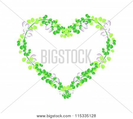 Fresh Vine Leaves In Beautiful Heart Shape