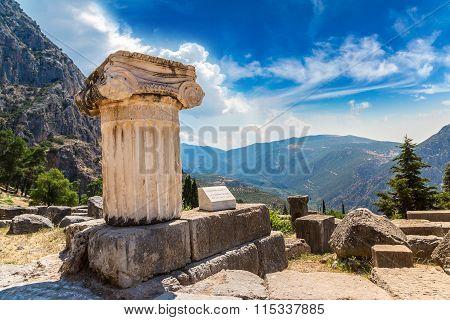 Ancient Greek Column In Delphi, Greece