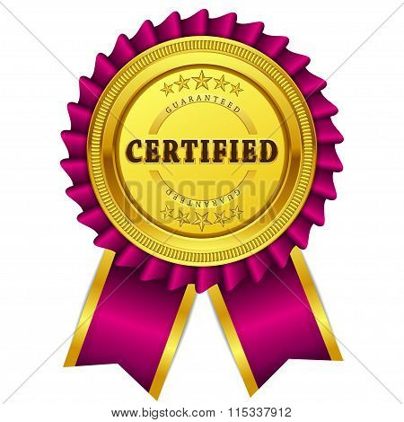 Certified Guaranteed Pink Seal Vector Icon