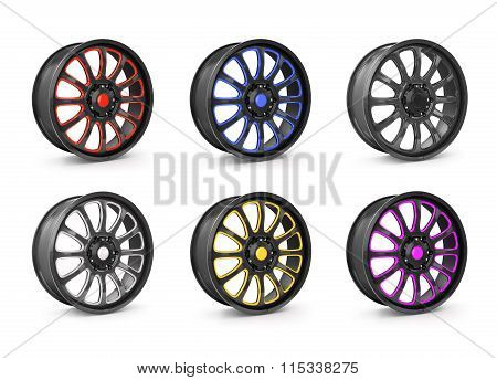 Collection Of Car Wheel Rims, Isolated On White Background