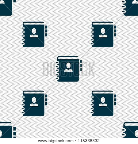 Notebook, Address, Phone Book Icon Sign. Seamless Pattern With Geometric Texture.