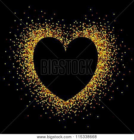 Hand Sketched Glitter Golden Heart Background For Valentine's Day