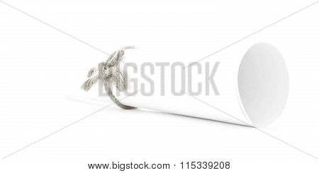 White Letter Scroll Tied With Cord, Single Natural Knot Isolated