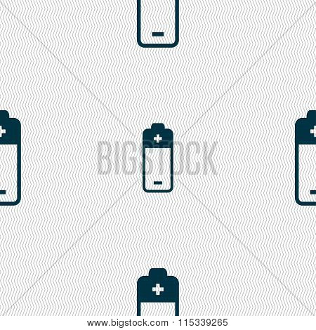 Battery Icon Sign. Seamless Pattern With Geometric Texture.