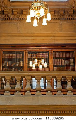 LIVERPOOL UK 16TH JAN 2016. The Magnificent Oak Room Inside Liverpool Central Library