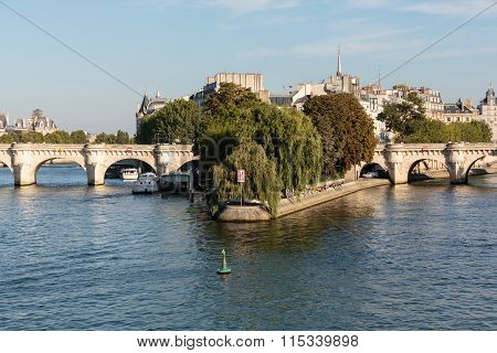 Pont Neuf and Cite Island in Paris France