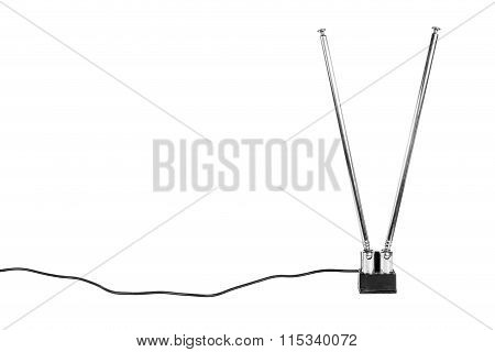 Old Antenna And Wire On The White Background.