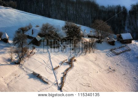 Sunrise In Winter Morning On Transylvanian Hills. Holbav. Brasov. Romania. Low Key, Dark Background,