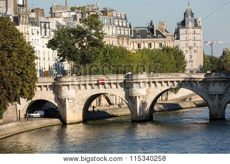 PARIS FRANCE - OCTOBER 9 2014: Pont Neuf and Cite Island in Paris France