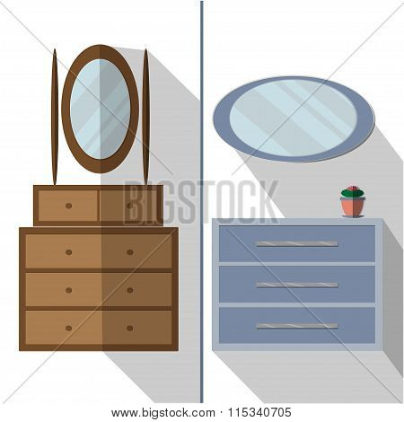 Interior Room Furniture For Bedroom, Hallway, Room Of A House. Chest Of Drawers With Mirror. Flat Ve