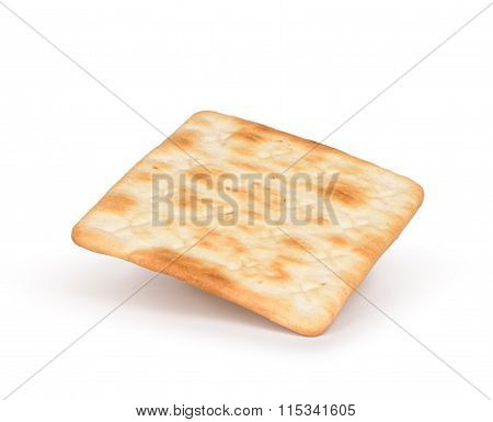 One Square Crackers Isolated On White Background